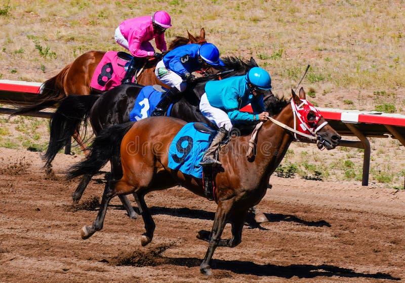 Biegowi konie i colorfully odziani dżokeje przewodzi w kierunku mety - wersja 2 zdjęcie stock