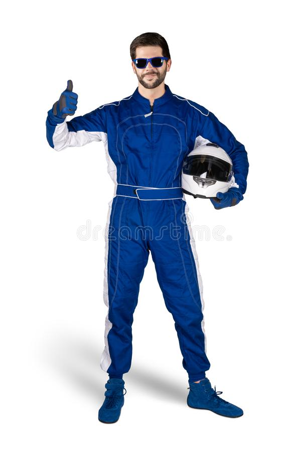 Biegowy kierowca świętuje po wygrywać w błękitnych białych motorsport kombinezonu butów rękawiczkach i zbawczym przekładnia trzas obraz stock