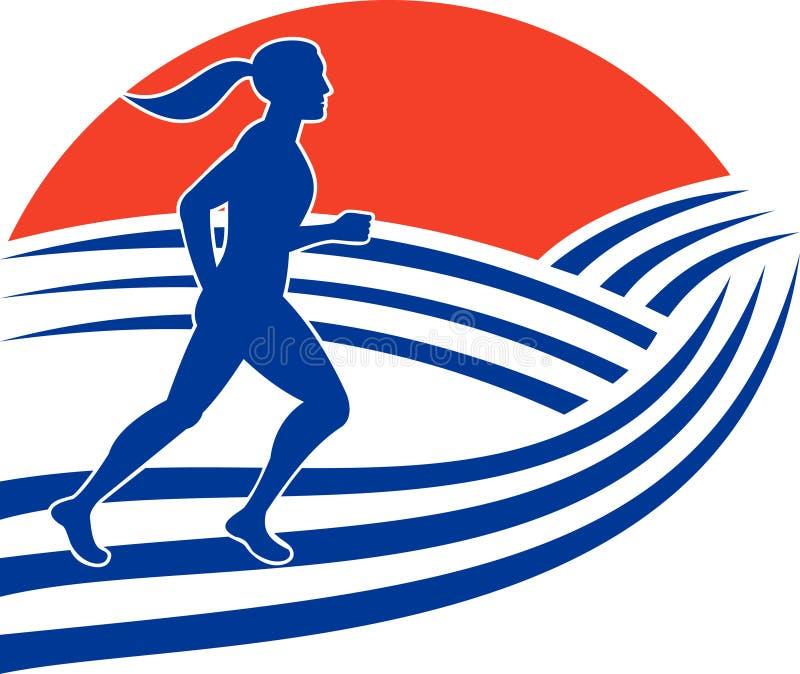 biegowy maratonu żeński biegacz ilustracja wektor