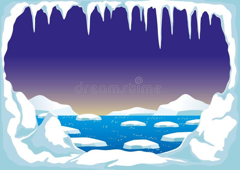 Biegun Północny z górami lodowa ilustracja wektor