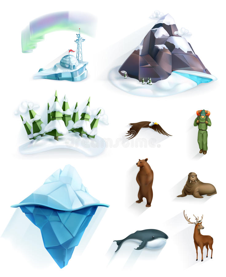Biegunowe natur ikony ilustracji