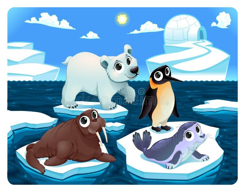 Biegunowi zwierzęta na lodzie ilustracji