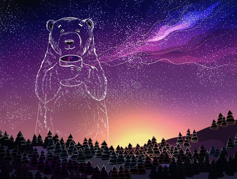 Biegunowy biały niedźwiedź na pełnym gwiazdy galaxy niebo Fantazi zimy krajobraz przy nocą Boże Narodzenia i nowego roku temat ilustracji