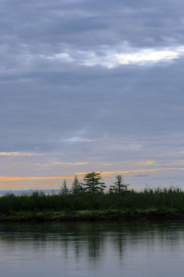 Biegunowy dzień przy nocą na Taimyr półwysepie obraz royalty free