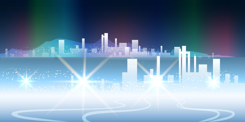 Biegunowy nocy miasto ilustracji