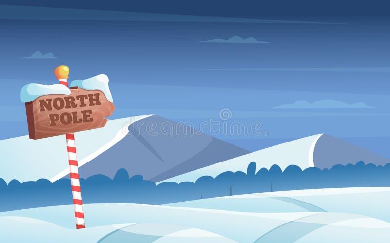Biegunu północnego drogowy znak Śnieżny tło z śnieżną drzewo nocy drewien kraina cudów zimy wakacji wektoru kreskówką ilustracji