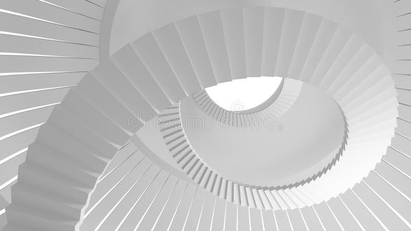 Biel ślimakowaci schodki iść up w round wnętrzu ilustracji