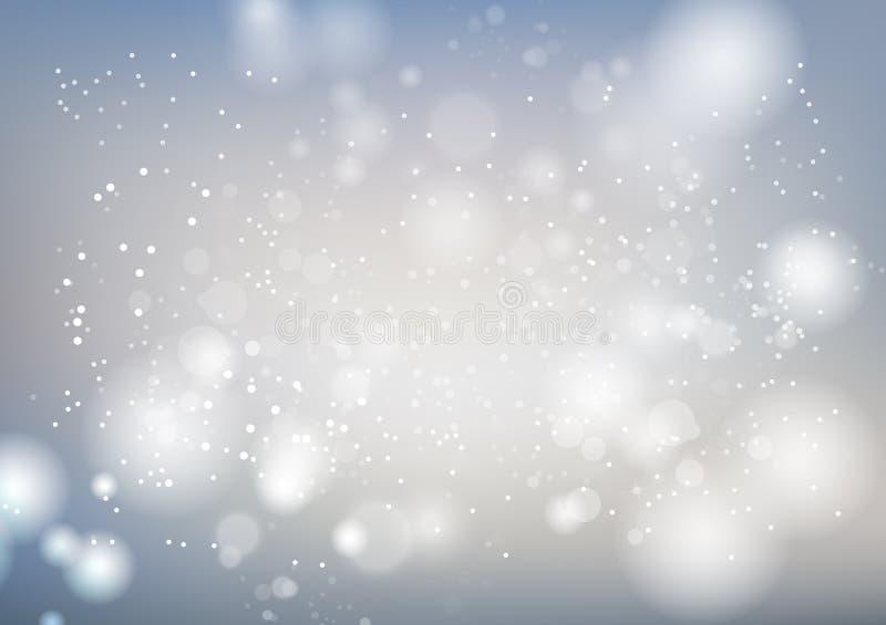 Biel, świętowania abstrakcjonistyczny tło, srebne gwiazdy błyska plama ruchu luksusową wektorową ilustrację, sezonowy wakacje ilustracja wektor