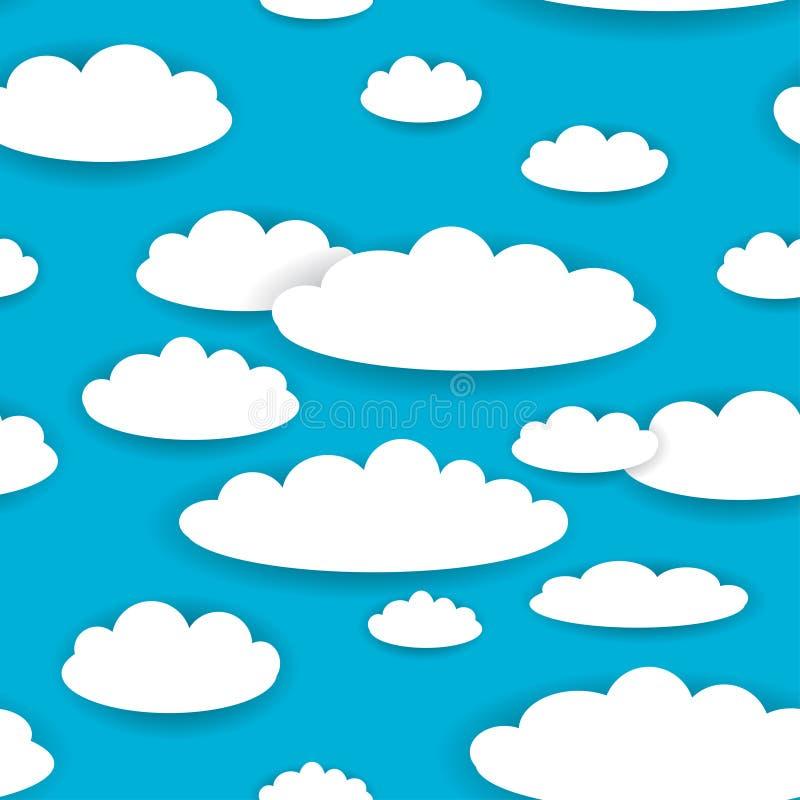 Biel chmurnieje na niebieskiego nieba tła bezszwowym wzorze wektor royalty ilustracja