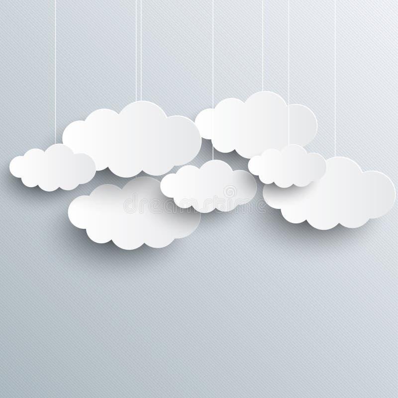 Biel chmurnieje na szarym nieba tle royalty ilustracja