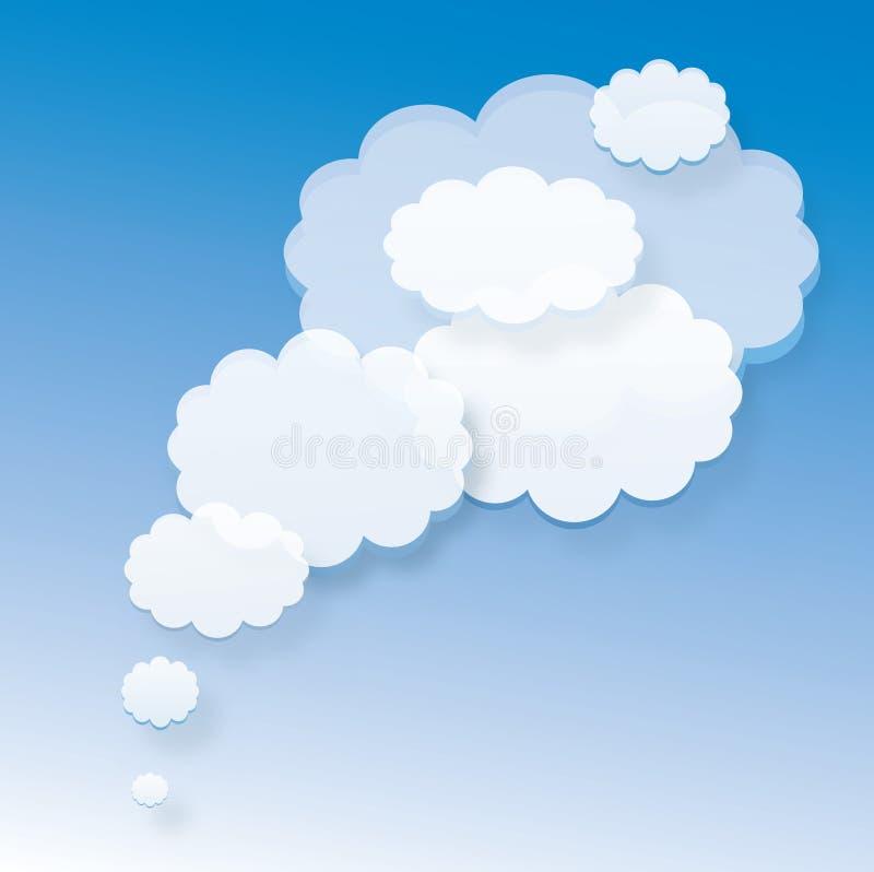 Biel chmury na błękitnym tle lub bąble ilustracja wektor