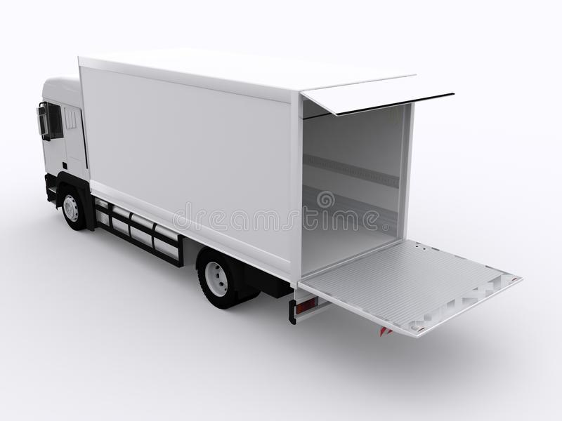 Biel ciężarówka z przyczepą ilustracja wektor