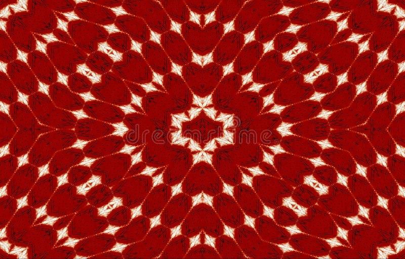 Biel, czerń wzór na czerwonym tle unikalny ornament abstrakcyjny tło bright royalty ilustracja