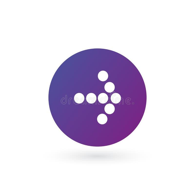 biel dobro kropkująca strzała w purpurowej gradientowej okrąg ikonie Kontynuuje ikonę Następny znak Wschodnia strzała Wektorowa i royalty ilustracja