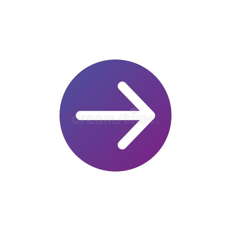 biel dobro zaokrąglająca strzała w purpurowej gradientowej okrąg ikonie Wektorowa ilustracja odizolowywająca na bielu Kontynuuje  ilustracji