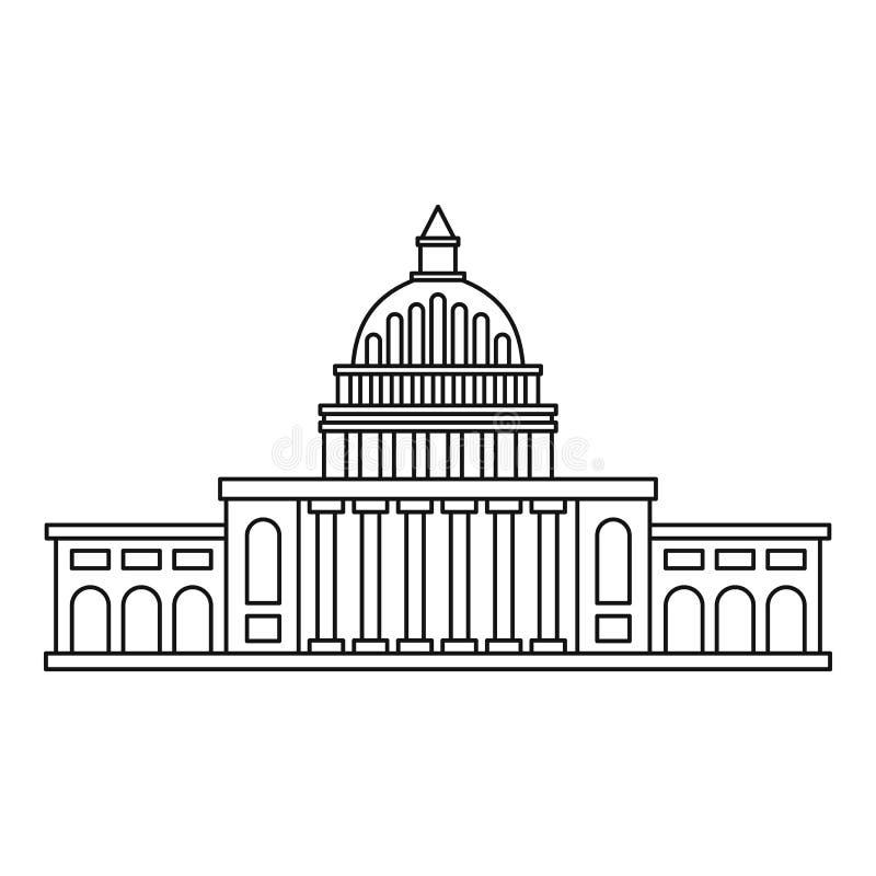 Biel domowa ikona, konturu styl ilustracji