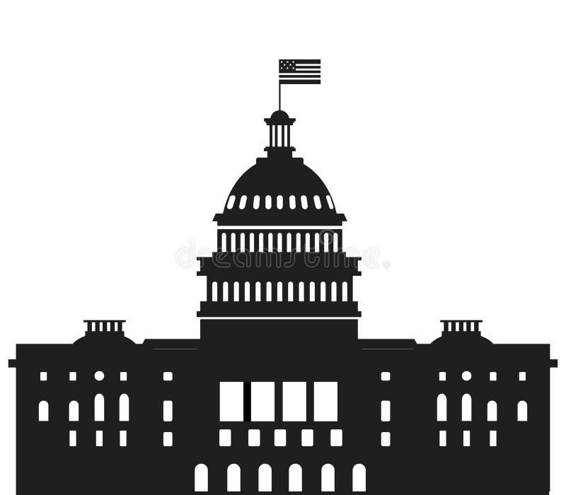 Biel domowa wektorowa płaska ilustracja Waszyngton dc capitol ilustracja wektor