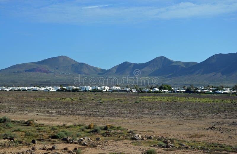 Biel domy w wschodzie Lanzarote obraz stock