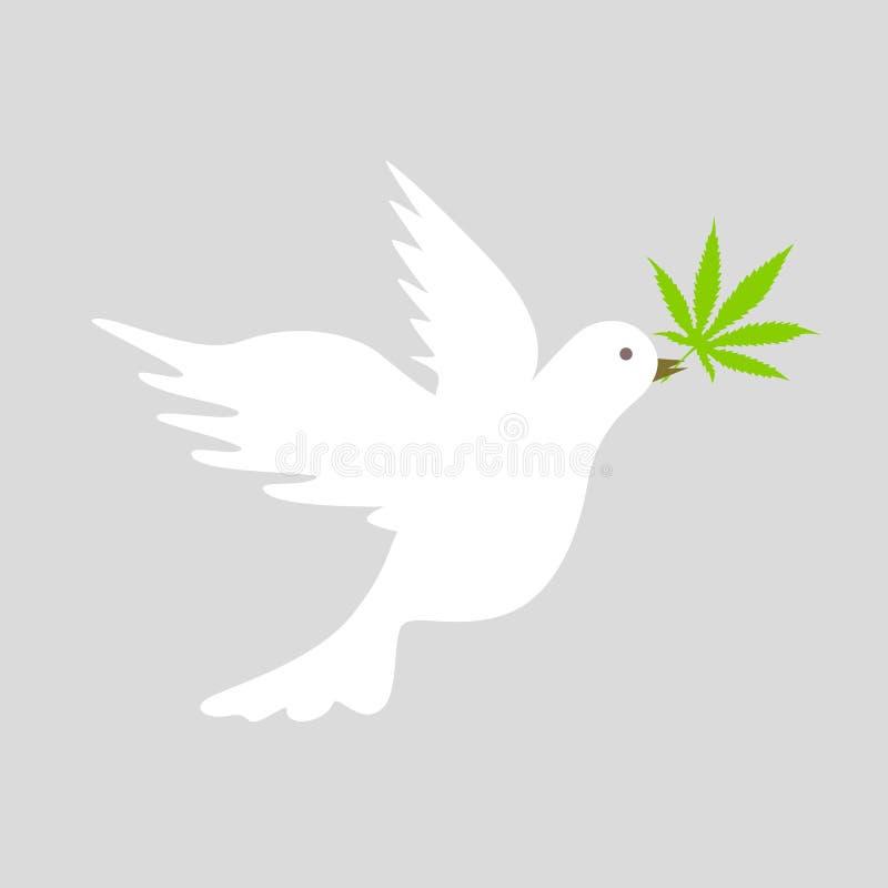 Biel gołąbka z zielonym marihuana liścia pokoju symbolem royalty ilustracja