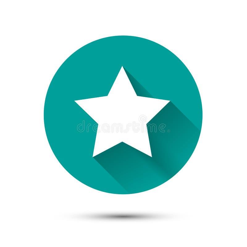 Biel gwiazdowa ikona na zielonym tle z cieniem ilustracji