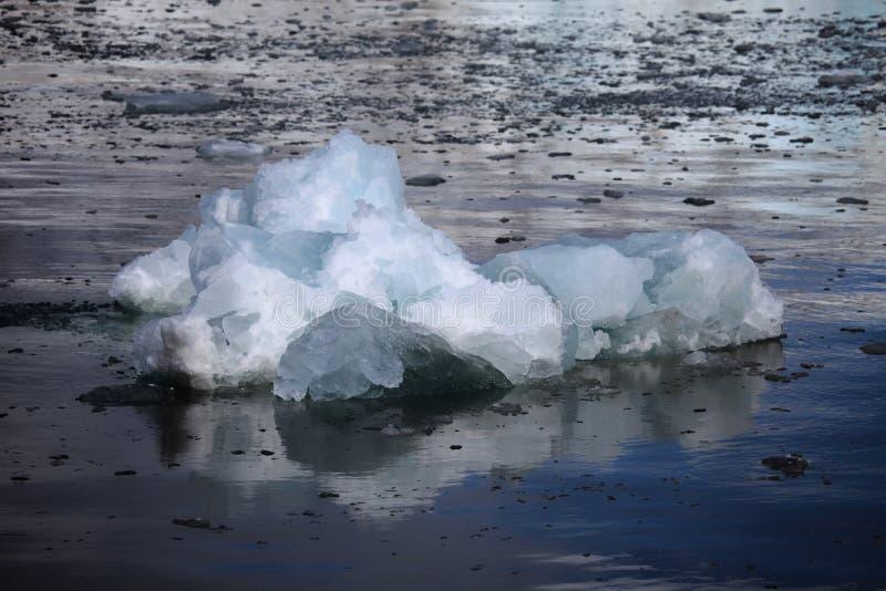 Biel i błękit zamrażamy, małe góry lodowa unosi się w Svalbard zdjęcie royalty free