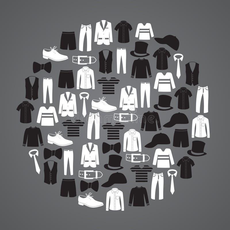 Biel i murzyn odziewa ikony w okręgu ilustracja wektor
