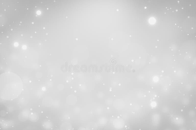 Biel i srebro zaświecamy na bokeh abstrakta tle ilustracja wektor
