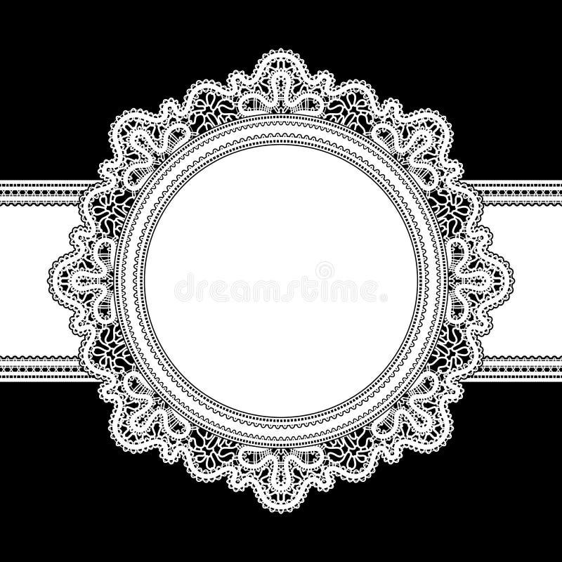 Biel koronki rama royalty ilustracja
