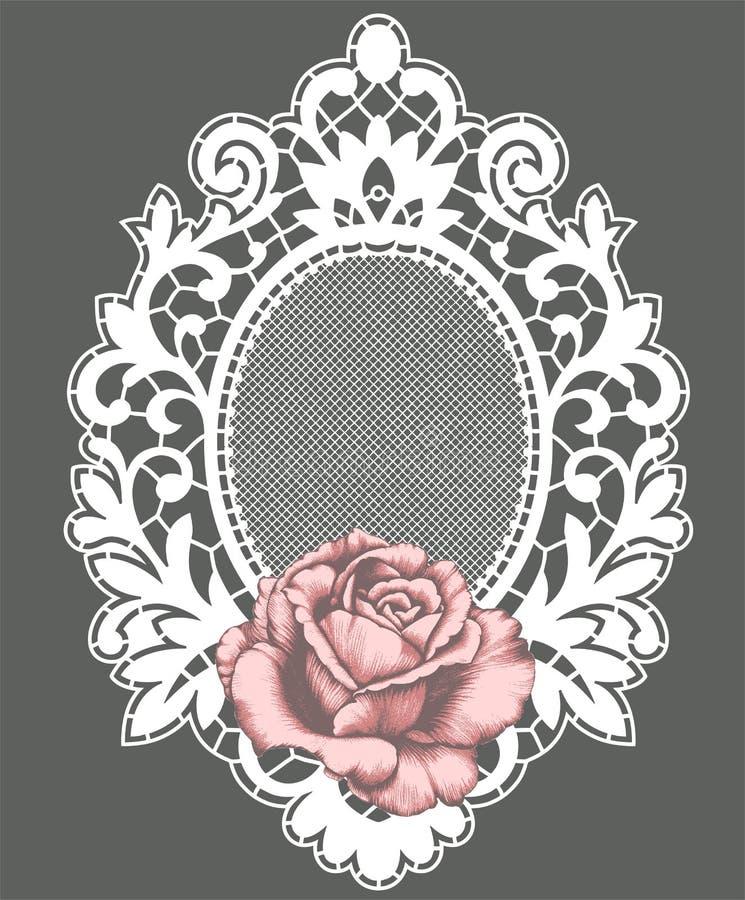 Biel koronki rama różową różę royalty ilustracja
