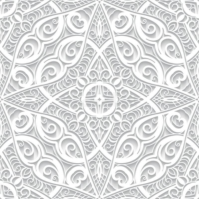 Biel koronki wzór z wycinanka papieru zawijasami ilustracji