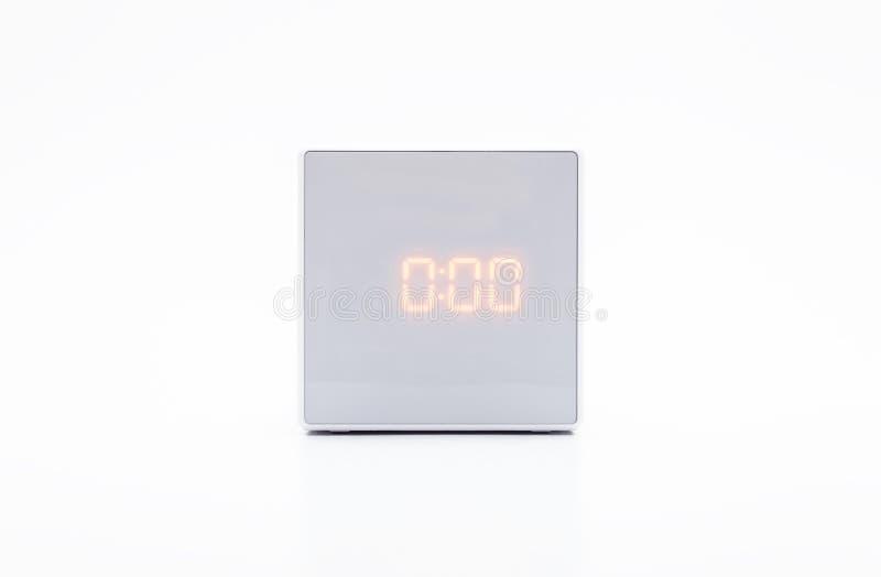 Biel, kwadrata cyfrowy zegar na białym tle z ścinek ścieżką obraz royalty free