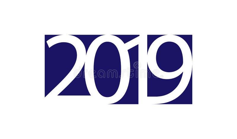 Biel liczy 2019 na błękitnym kwadracie i białym tle ilustracja wektor