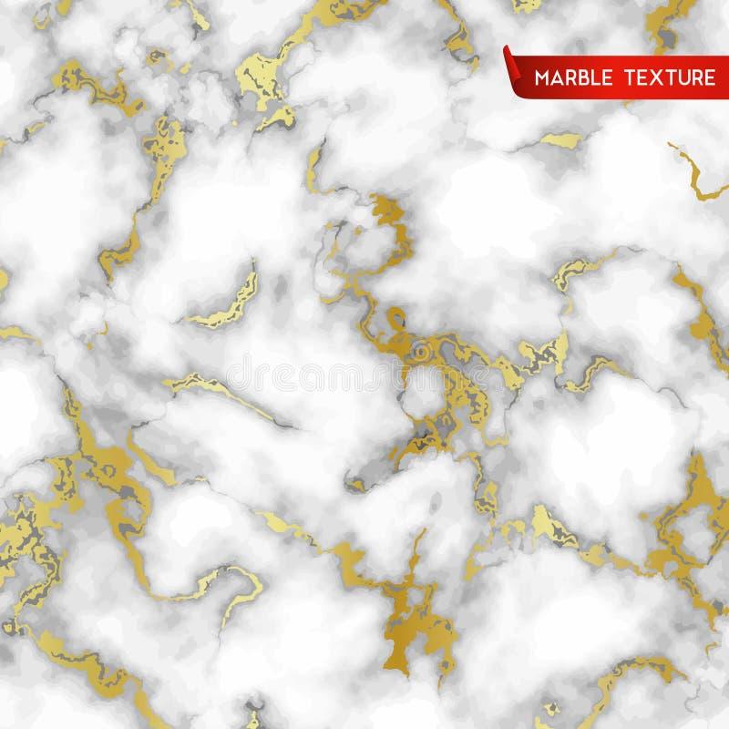 Biel marmurowe tekstury z złotem ilustracji