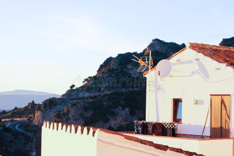 Biel mieści starego grodzkiego halnego zmierzch zdjęcie royalty free
