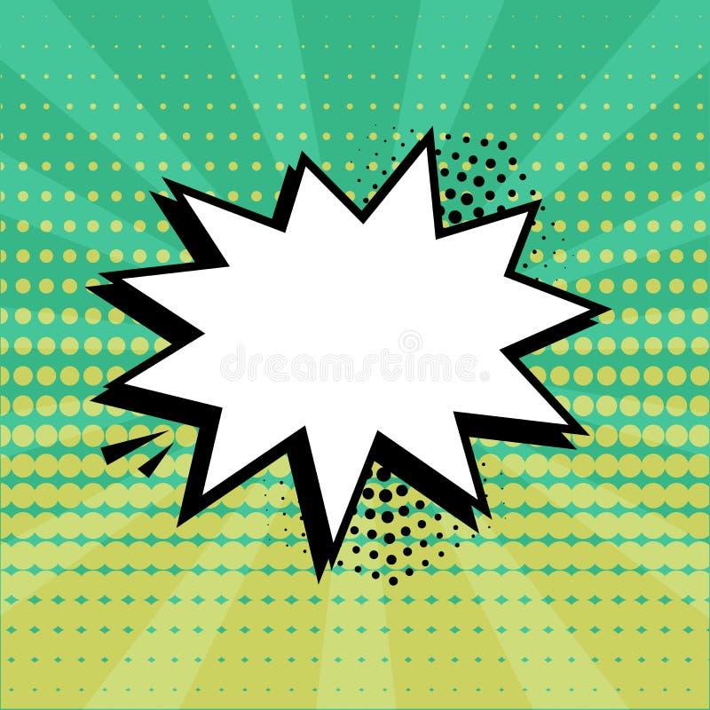 Biel mowy pusty bąbel z halftone cieniem na zielonym tle Komiczni efekty d?wi?kowi w wystrza? sztuki stylu wektor royalty ilustracja