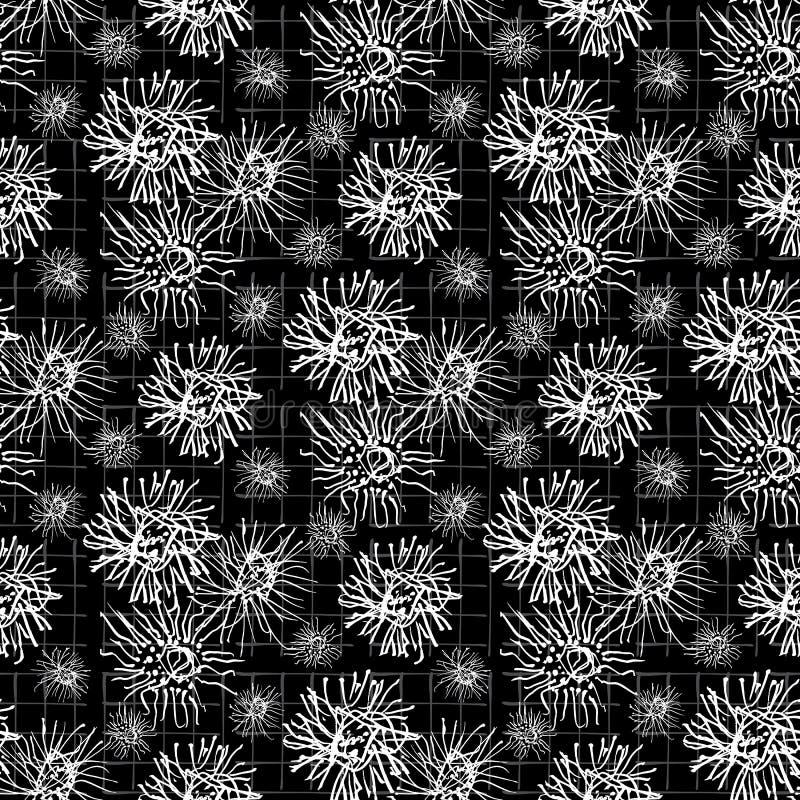 Biel na Czarnej płatek śniegu sylwetki wektoru Bezszwowym wzorze Ręka Rysujący mróz ilustracja wektor