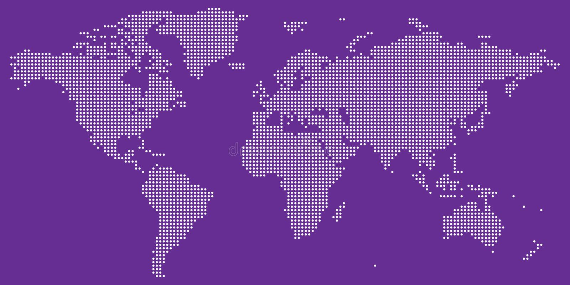 Biel na purpury światowej mapy kropkowanym wektorze ilustracji