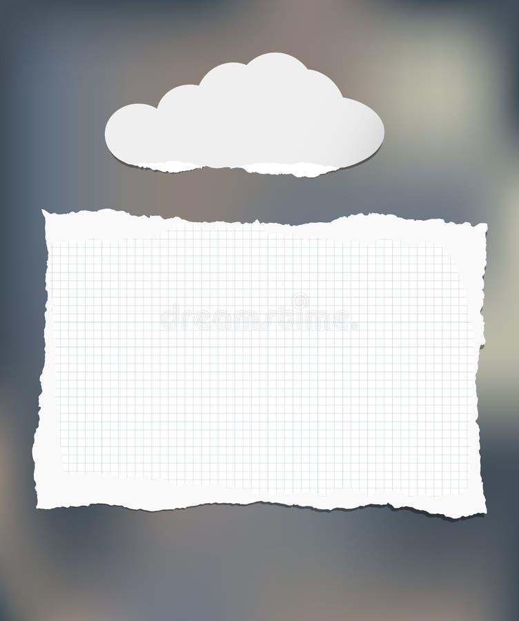 Biel notatka, notatnik, copybook chmury papier na kolorowym tle ilustracji