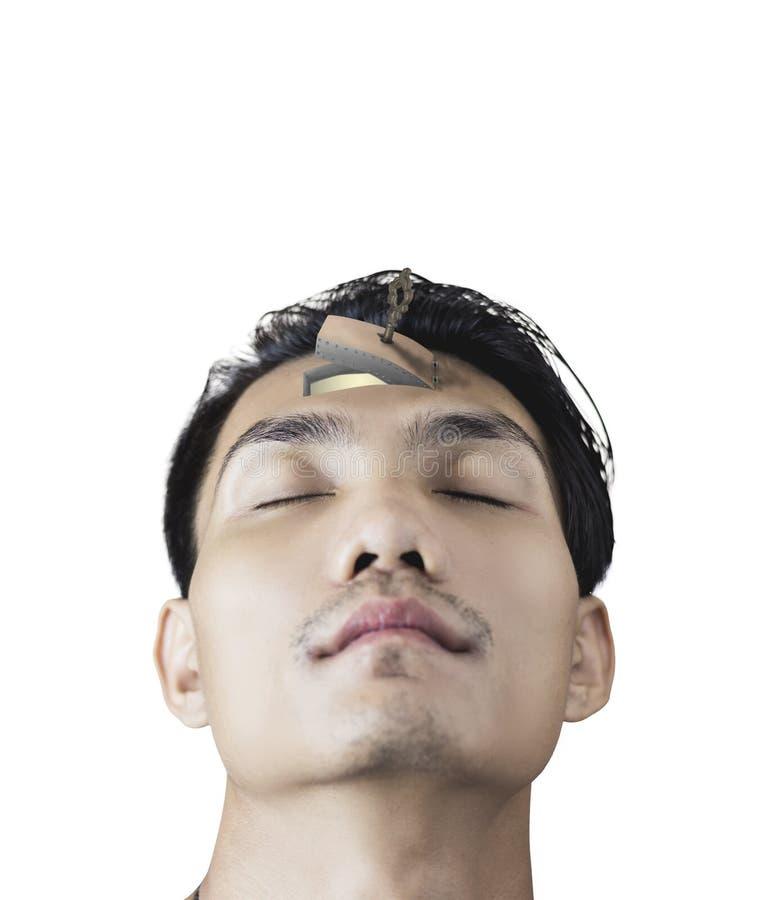 Biel odizolowywający azjatykcia mężczyzna twarz, drzwi z kluczowym otwarciem na fo i zdjęcie royalty free