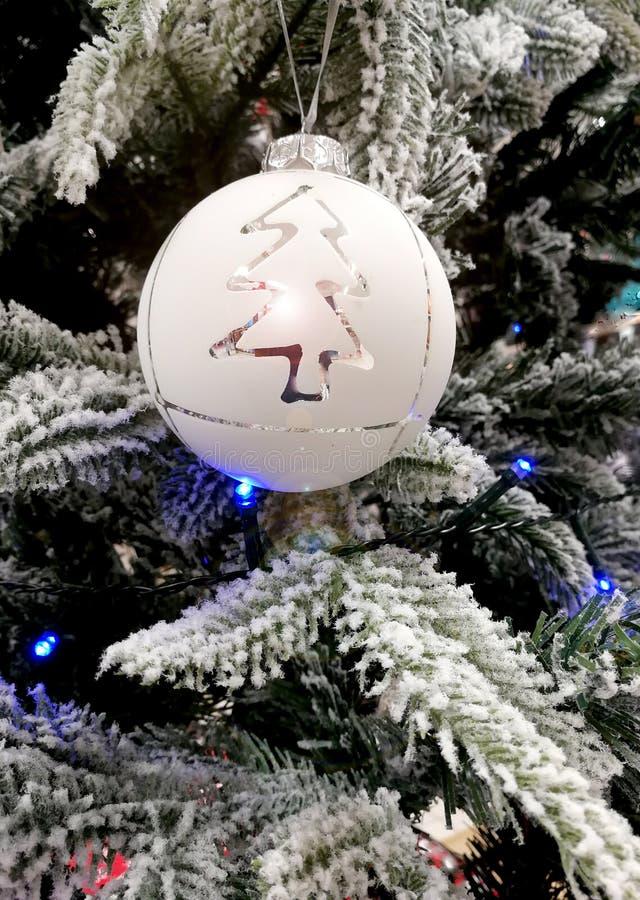 Biel ornamentuje Bożenarodzeniowego czas, sferę i Xmas drzewa, zdjęcia royalty free
