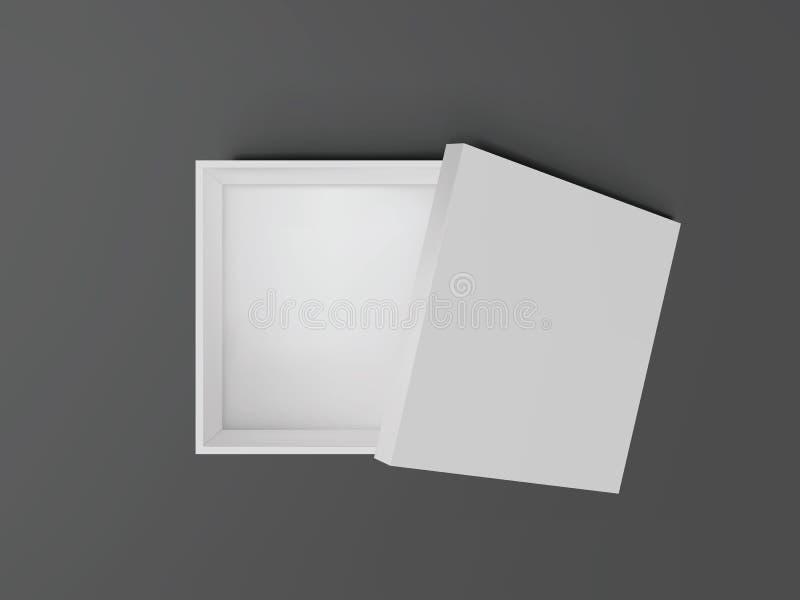 Biel otwarty opróżnia kwadrata kartonu odgórnego widok Mockup szablon dla projektów produktów, pakunek, oznakujący, reklamujący W royalty ilustracja