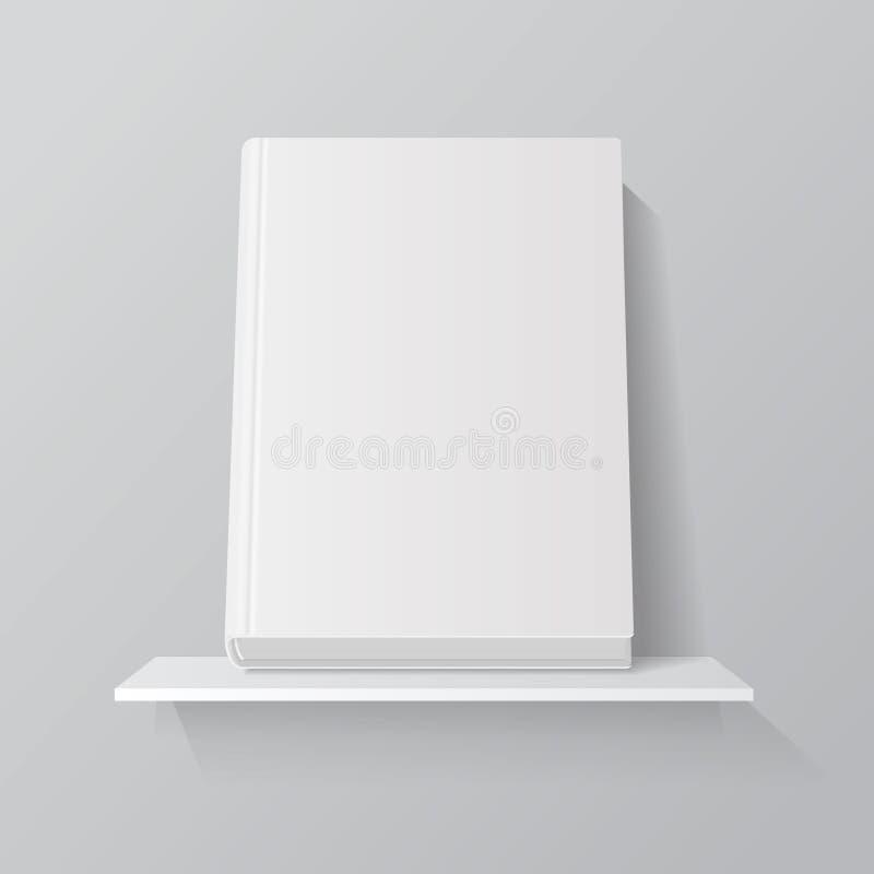 Biel pusta książka na półce Frontowa trwanie książkowa pokrywa na półki na książki mockup royalty ilustracja