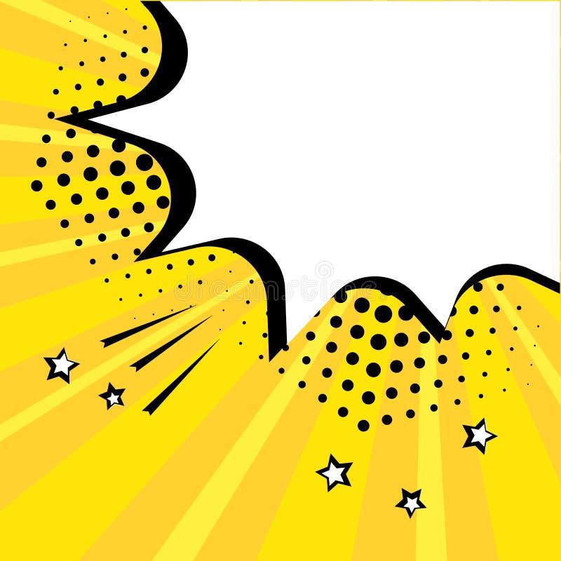 Biel pustej mowy komiczny b?bel z gwiazdami i kropkami Wektorowa ilustracja w wystrza? sztuki stylu ilustracja wektor