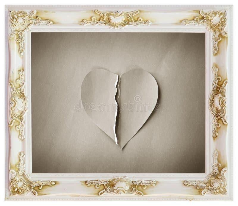 Biel rama i ze złamanym sercem zdjęcie stock