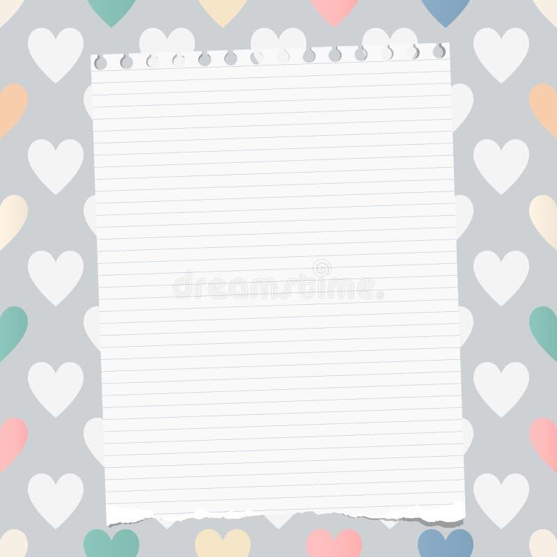 Biel rozdzierający rządził notatnika, copybook, nutowy papier wtykający na wzorze tworzącym kierowi kształty royalty ilustracja