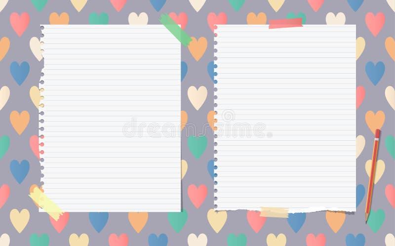 Biel rozdzierający rządził notatnika, copybook, nutowy papier z ołówkiem wtykającym ilustracja wektor