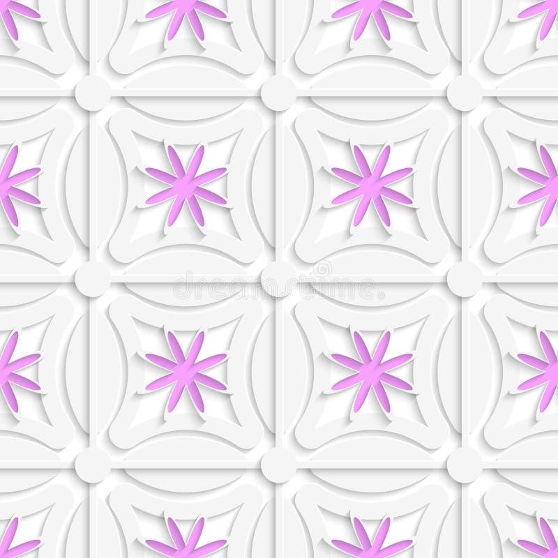 Biel sieć i różowi kwiaty ciący out o papier ilustracji