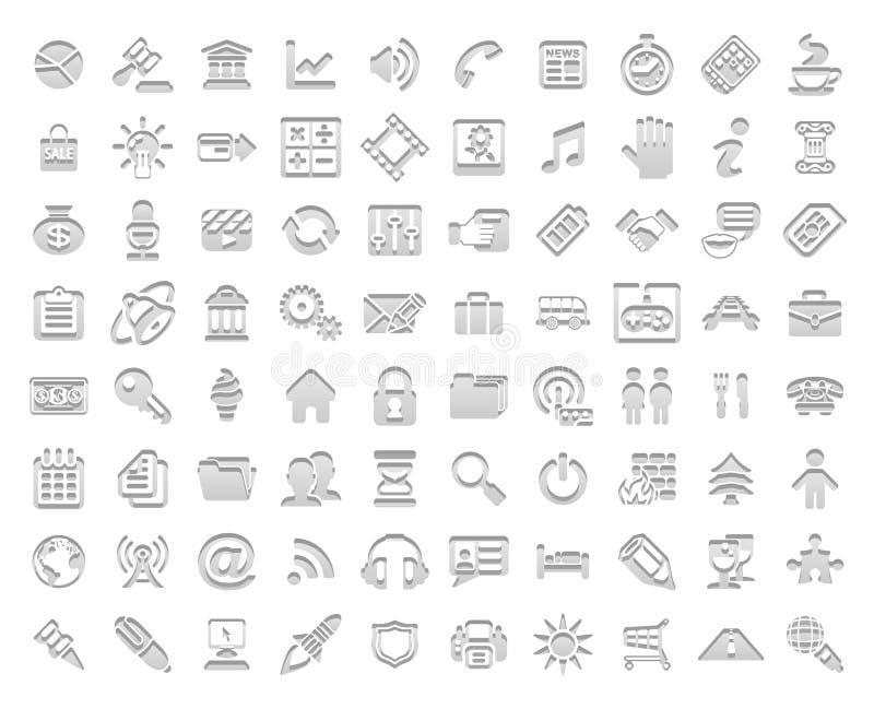 Biel stemplowe ikony ilustracji