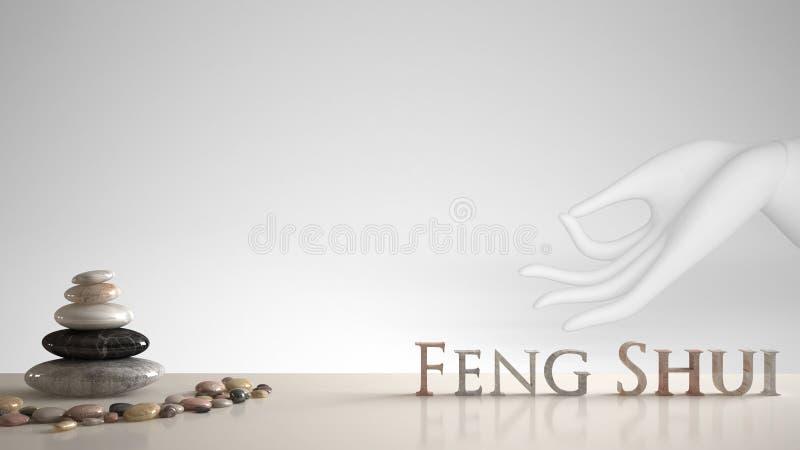 Biel stołowa półka z otoczak równowagą i 3d pisze list robić słowa feng shui nad białą ręką w gyan mudra, joga medytacja, zen ilustracji