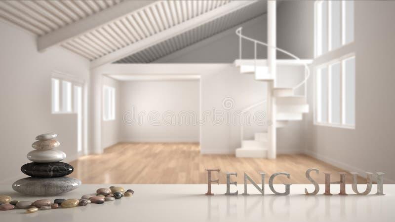 Biel stołowa półka z otoczak równowagą i 3d pisze list robić słowa feng shui nad otwartą przestrzenią z mezoninu i minimalisty sp zdjęcie royalty free